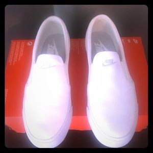 Nike White canvas slip ons